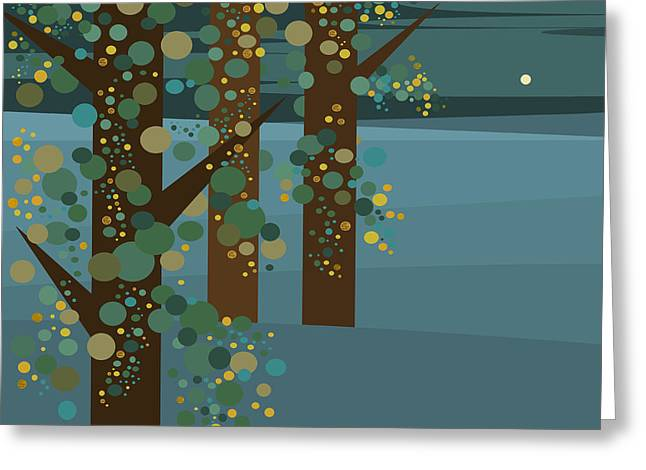 Three Trees With Gold Greeting Card