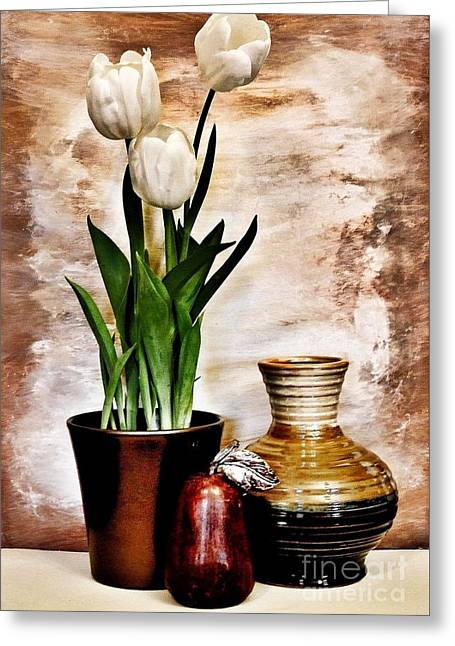 Three Tulips Pottery And Pear Greeting Card by Marsha Heiken