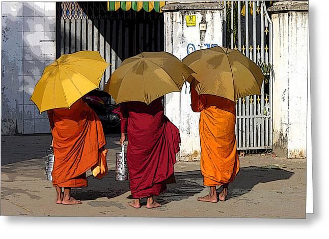 Three Umbrellas Greeting Card