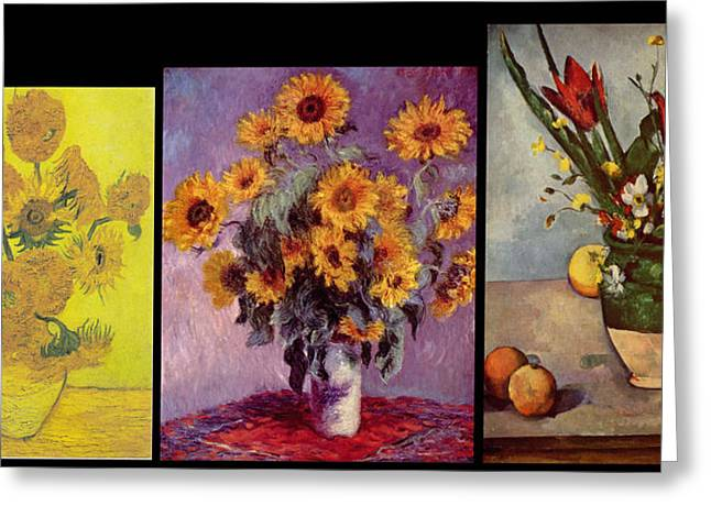 Three Vases Van Gogh - Monet - Cezanne Greeting Card