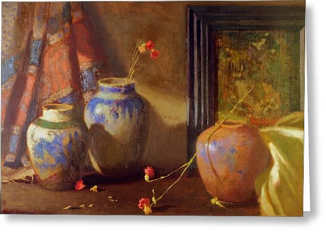 Three Vases With Impressionist Painting In Background Greeting Card by David Olander