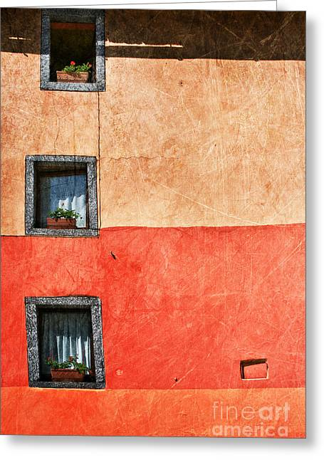 Three Vertical Windows Greeting Card