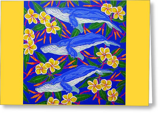 Greeting Card featuring the painting Three Whales  by Debbie Chamberlin