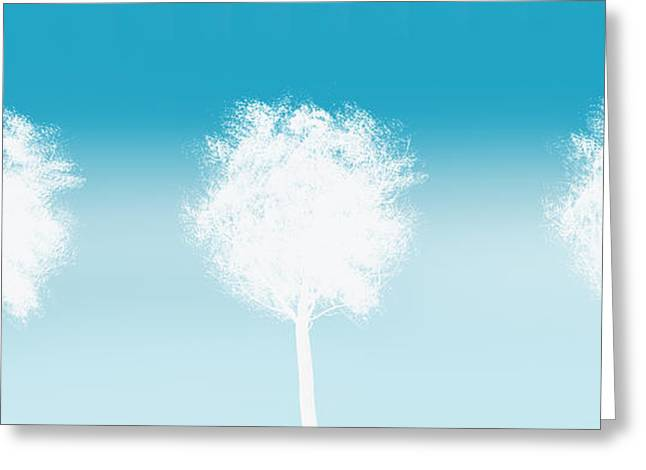 Three White Trees Greeting Card by Art Spectrum