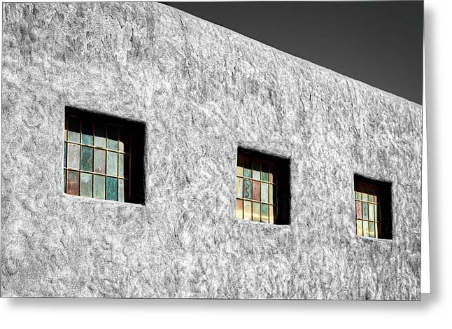 Three Windows In Taos #3 Greeting Card