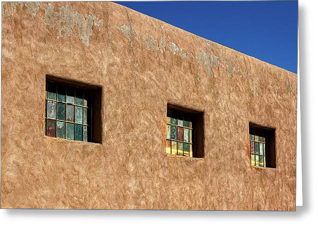 Three Windows In Taos Greeting Card
