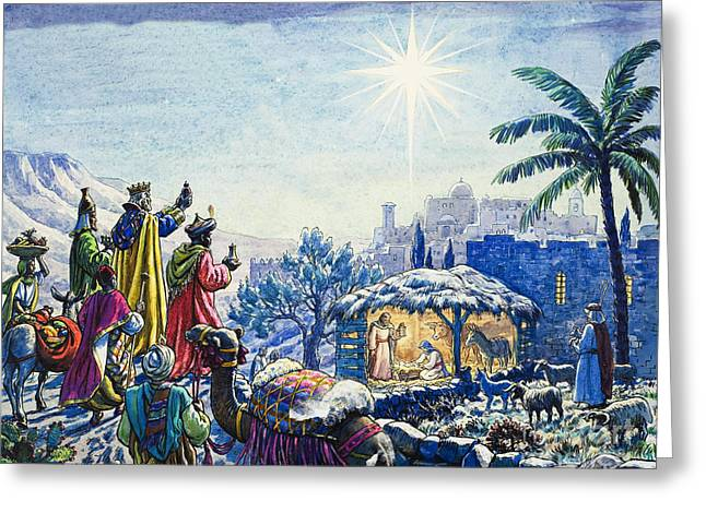 Worshipping Greeting Cards - Three Wise Men Greeting Card by Unknown