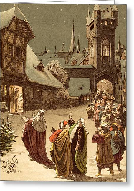 Three Wise Men Greeting Card by Victor Paul Mohn