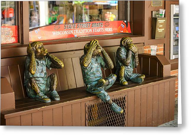 Three Wise Monkeys Greeting Card by Chris Smith