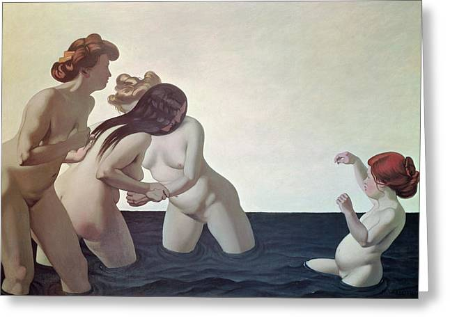 Three Women And A Young Girl Playing In The Water Greeting Card