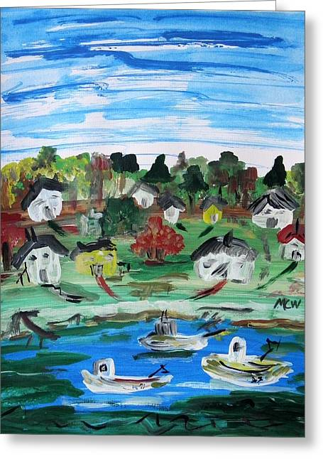 Greeting Card featuring the painting Three Work Boats Return by Mary Carol Williams