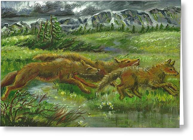 Three Wyoming Wolves Greeting Card by Dawn Senior-Trask
