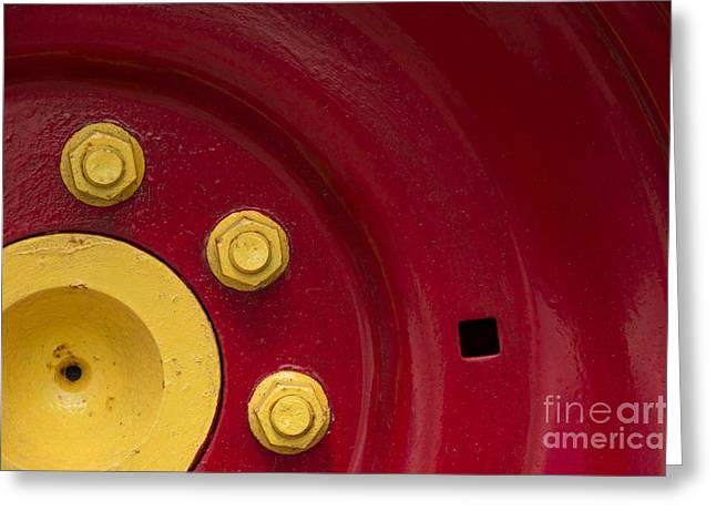 Three Yellow Nuts On A Red Wheel Greeting Card