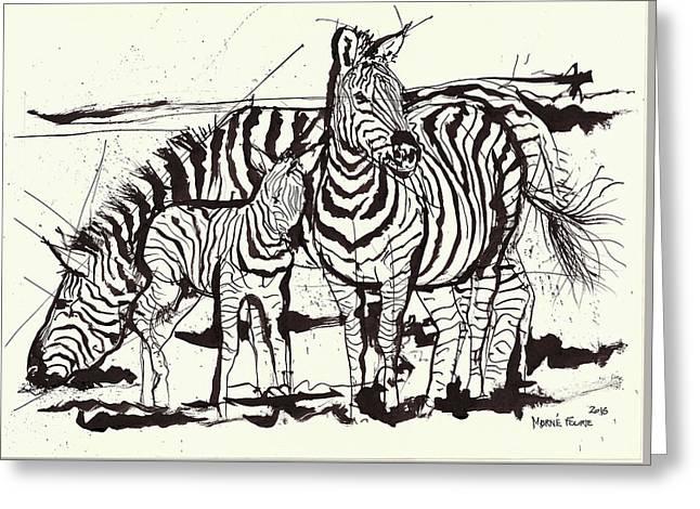 Three Zebra Black Ink Greeting Card by Morne Fourie