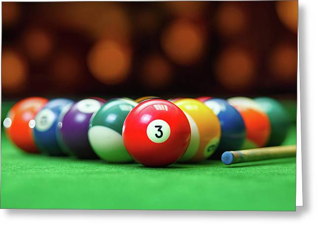 Pool balls greeting cards page 17 of 38 fine art america threesome greeting card m4hsunfo