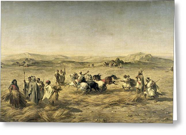 Threshing Wheat In Algeria Greeting Card by Adolphe Pierre Leleux