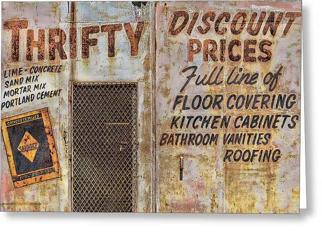 Thrifty Discount Sign Greeting Card