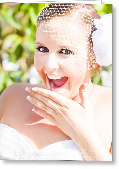 Thrilled Bride Greeting Card by Jorgo Photography - Wall Art Gallery