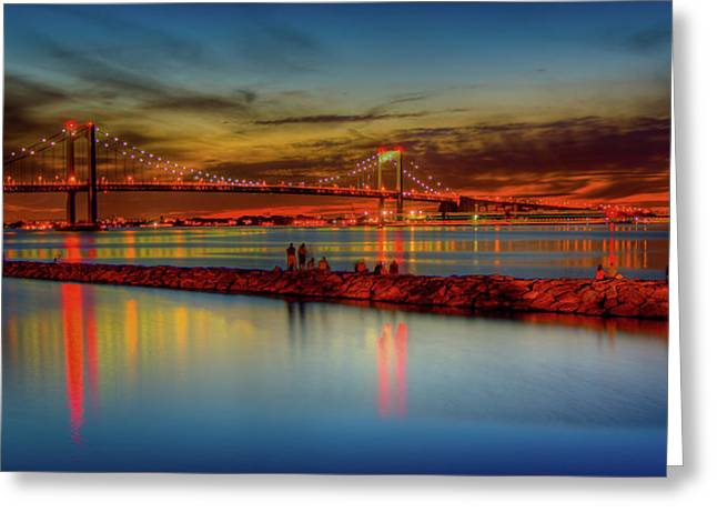 Robert Moses Greeting Cards - Throgs Neck Sunset Greeting Card by David Hahn