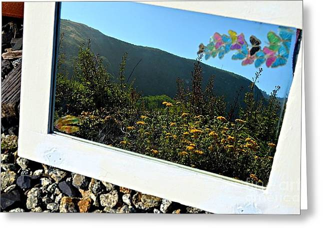 Through A Mirror We Can See Mountains Greeting Card