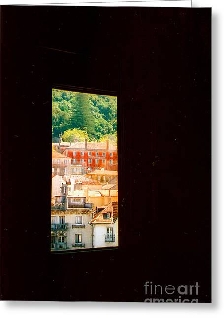 Through A Window Darkly Greeting Card by Andrea Simon