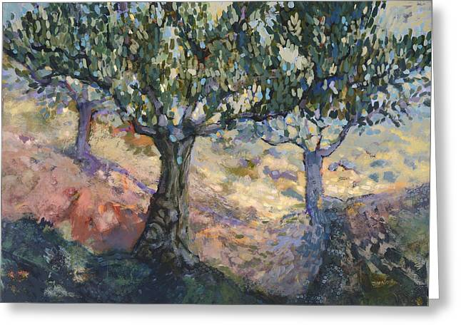 Through Ancient Olives Greeting Card by Jen Norton