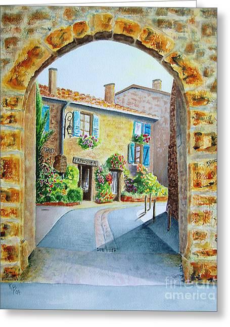 Through The Arch Greeting Card by Karen Fleschler