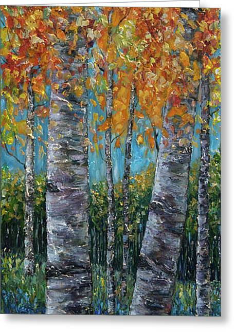 Through The Aspen Trees Diptych 1 Greeting Card