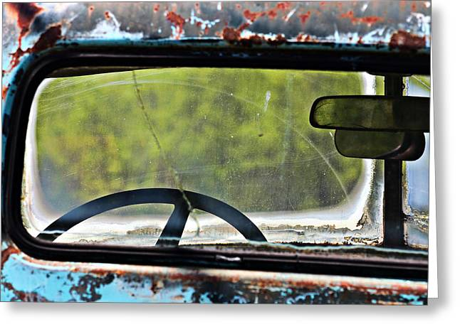 Through The Back Window- Antique Chevrolet Truck- Fine Art Greeting Card