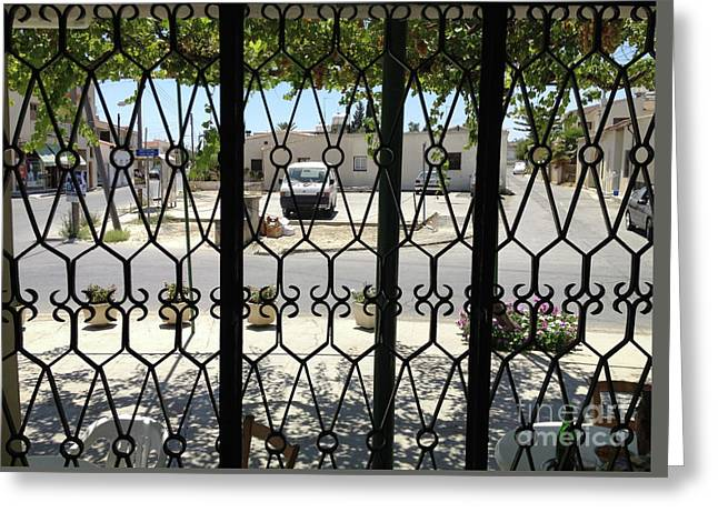 Through The Cafe Window Greeting Card by Clay Cofer
