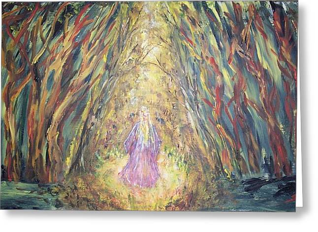 Through The Dark Forest Greeting Card by Mary Sedici