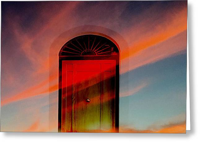 Greeting Card featuring the digital art Through The Door by Katy Breen