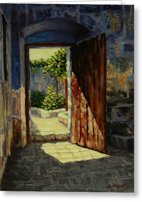 Through The Door, Peru Impression Greeting Card