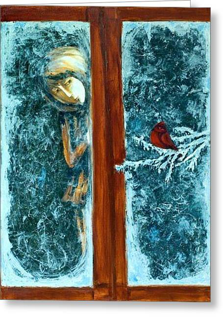 Greeting Card featuring the painting Through The Glass by Rae Chichilnitsky