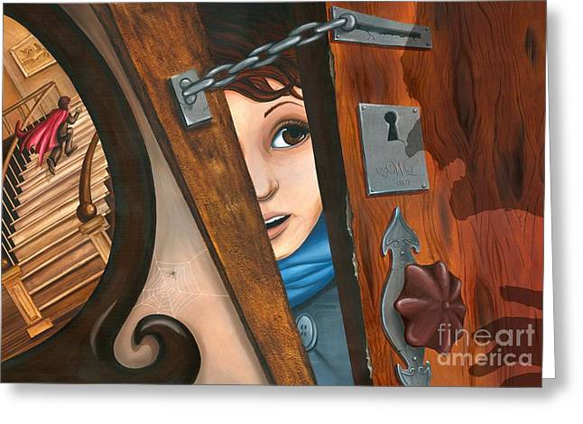 Greeting Card featuring the painting Through The Keyhole by Denise M Cassano