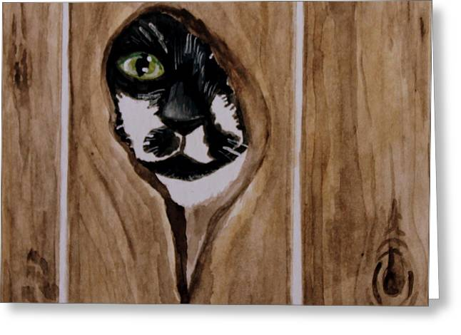 Knothole Greeting Cards - Through the Knothole Greeting Card by Elizabeth Robinette Tyndall
