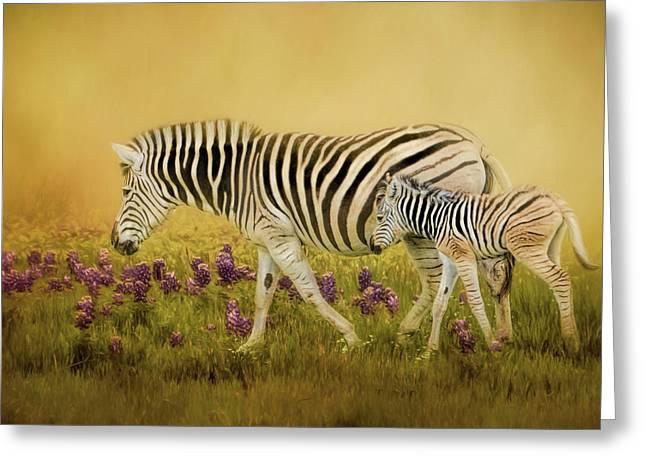 Through The Meadow Zebra Art Greeting Card by Jai Johnson