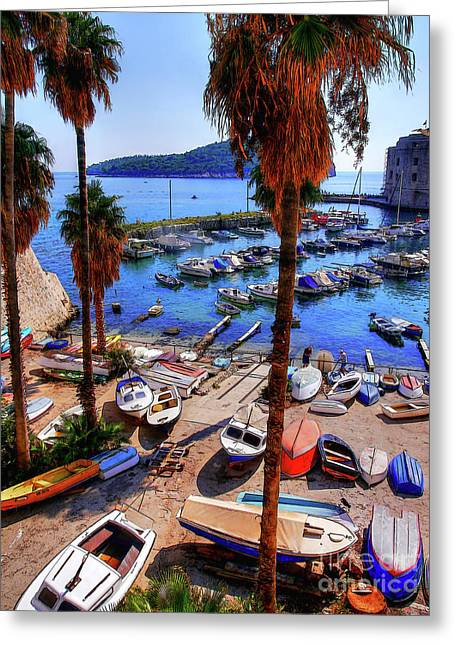 Through The Trees Dubrovnik Harbour Greeting Card