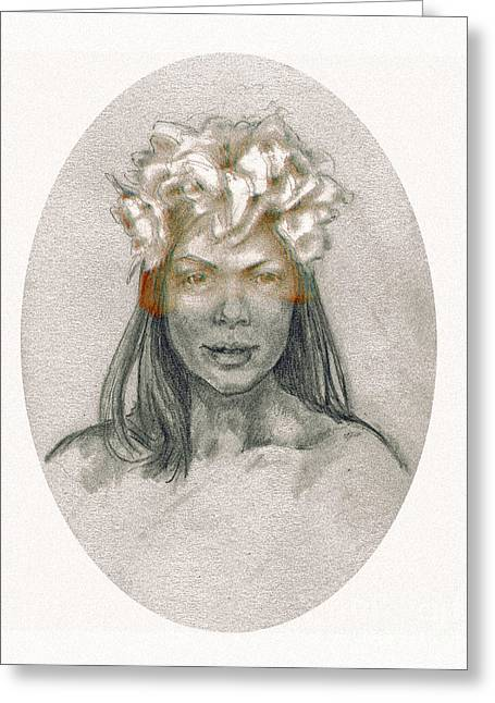 Greeting Card featuring the drawing Through The Veil by Lora Serra