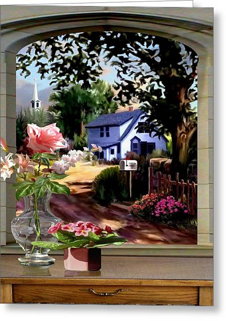 Through The Window Greeting Card by Ron Chambers