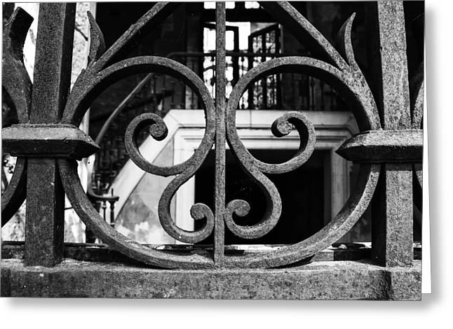 Thru A Wrought Iron Gate Greeting Card by Georgia Fowler