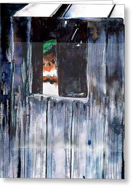 Greeting Card featuring the drawing Thru The Barn Window by Seth Weaver