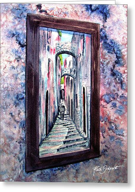 Thru The Looking Glass Greeting Card by Ruth Bodycott