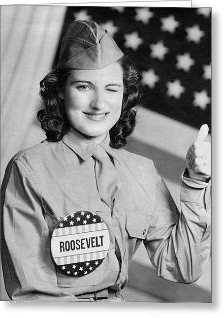 Thumbs Up For Roosevelt Greeting Card by Underwood Archives