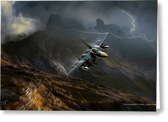 Thunder And Lightning Greeting Card by Peter Van Stigt