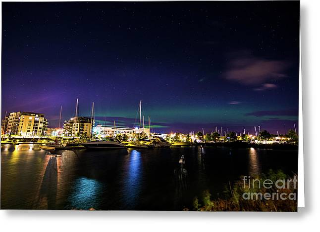 Thunder Bay Aurora Cityscape Greeting Card by James Brown