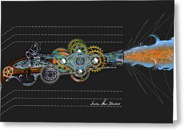 Greeting Card featuring the digital art Thunder Gun by Iowan Stone-Flowers