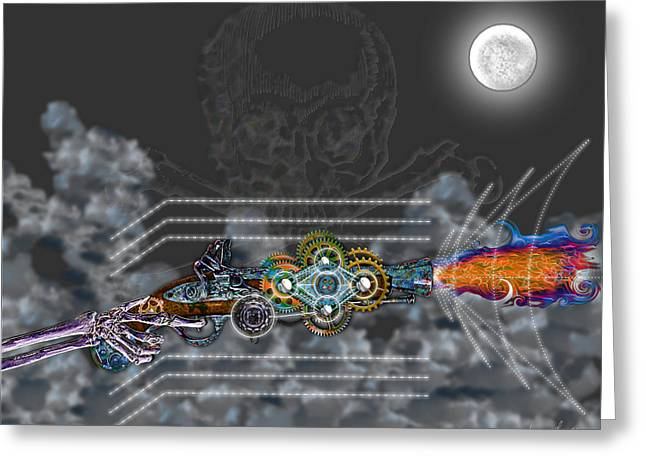 Greeting Card featuring the digital art Thunder Gun Of The Dead by Iowan Stone-Flowers