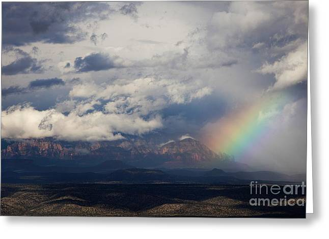 Greeting Card featuring the photograph Thunder Mountain Rainbow From Jerome by Ron Chilston