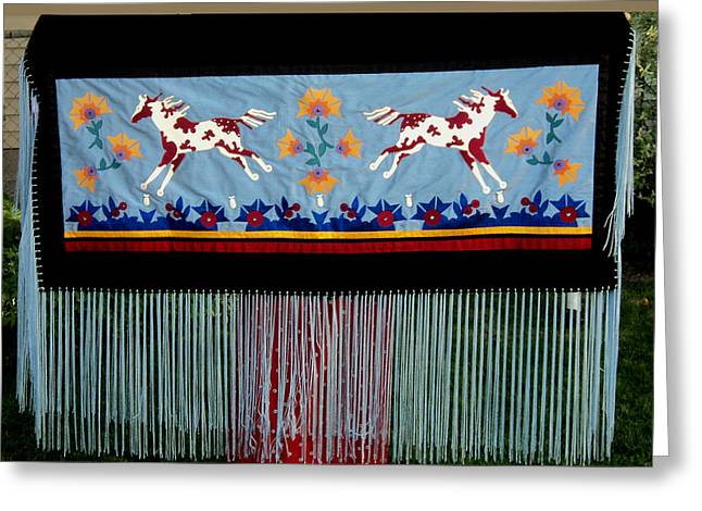 Greeting Card featuring the tapestry - textile Thunder Pony by Chholing Taha
